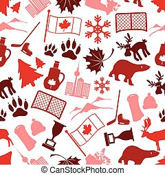 canada country theme symbols icone seamless pattern eps10