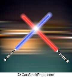 two red and blue light future swords fight blur background...