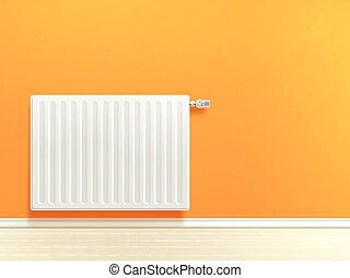 Radiator On Wall - Realistic white heating radiator on...