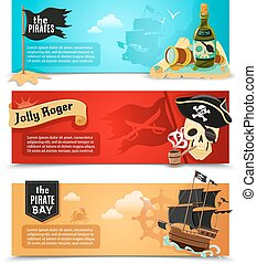Pirates flat banners set with ship jolly roger and triangle...