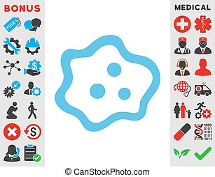 Amoeba Icon - Amoeba vector icon Style is flat symbol, blue...