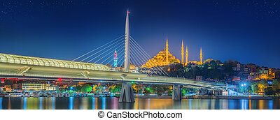 Ataturk bridge, metro bridge at night Istanbul - Ataturk...