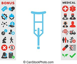 Crutch Icon - Crutch vector icon. Style is flat symbol, blue...
