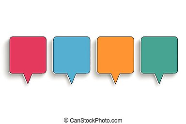 4 Colored Quadratic Speech Bubbles - Quadratic speech...
