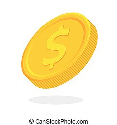 Flat dollar coin - Rotate vector flat dollar coin icon with...