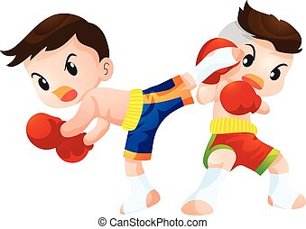 muaythai - Cute Thai boxing kids fighting actions back kick...