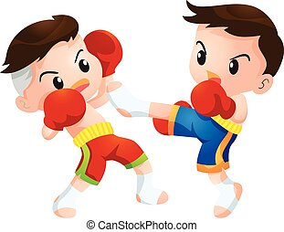 muaythai - Cute Thai boxing kids fighting actions kick...
