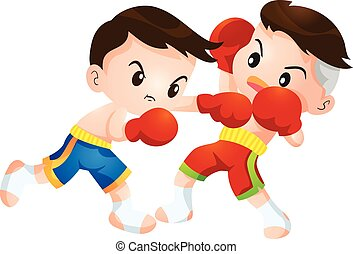 muaythai - Cute Thai boxing kids fighting actions hit strike...