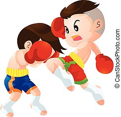 muaythai - Cute Thai boxing kids fighting actions knee over...