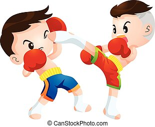 muaythai - Cute Thai boxing kids fighting actions high kick...