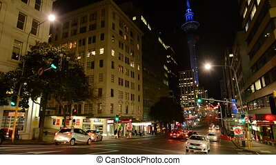 Auckland Downtown at night - Traffic on Victoria Street in...