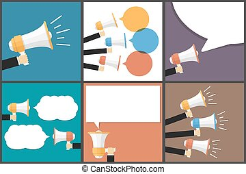 Hand with Megaphone Flat Vector Images Set