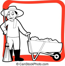 Street cleaner cartoon outline, coloring page