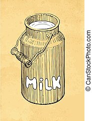 Milk Can - Hand Drawn Milk Can on Abstract Background