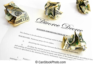 Divorce Decree cash - Divorce decree and crumpled up money