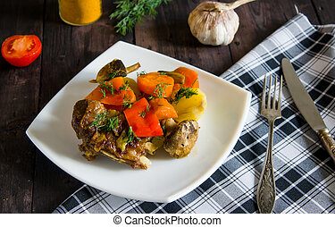 Braised lamb ribs with vegetables