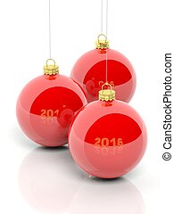 Red Christmas balls 2016, isolated on white background.