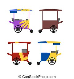 Colorful Asian street food carts - Illustration of colorful...
