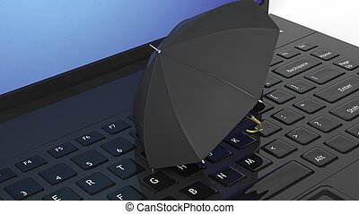 Umbrella on black laptop keyboard
