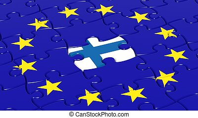 Jigsaw puzzle flag of European Union with Finland flag...