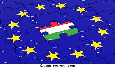 Jigsaw puzzle flag of European Union with Hungary flag...