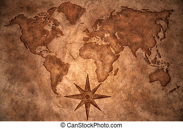 vintage world map - world map on vintage paper background