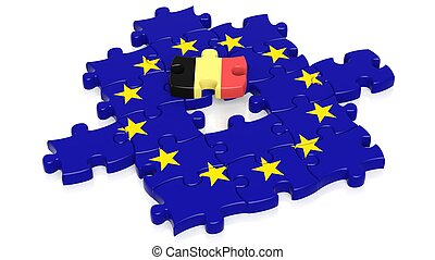 Jigsaw puzzle flag of European Union with Belgium flag...