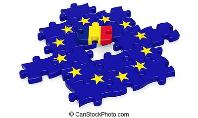 Jigsaw puzzle flag of European Union with Romania flag...