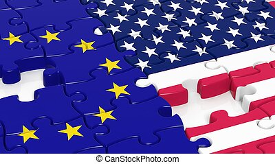 Jigsaw puzzle, flag of EU and flag of USA