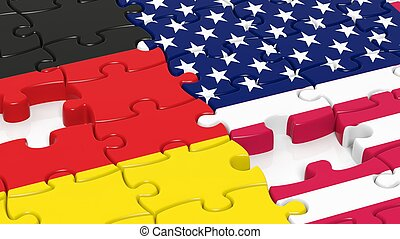 Jigsaw puzzle, flag of USA  and flag of Germany