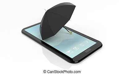 Umbrella on smartphonetablet screen, isolated on white