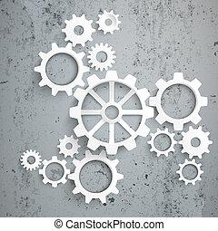 centro, grande, máquina, Concreto, engranajes, blanco