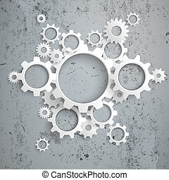 grande, máquina, blanco, engranajes, Concreto,