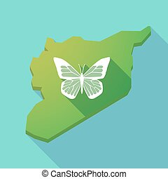 Long shadow Syria map with a butterfly - Illustration of a...