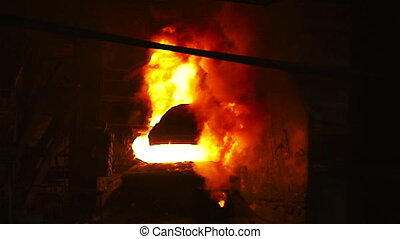 Fire from the BOF - Pouring of liquid metal Iron and steel...