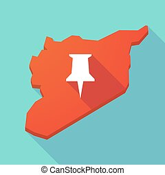 Long shadow Syria map with a push pin