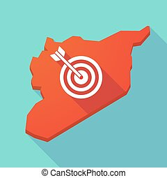 Long shadow Syria map with a dart board - Illustration of a...
