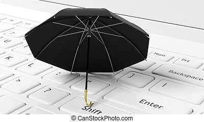 Black umbrella on white laptop keyboard