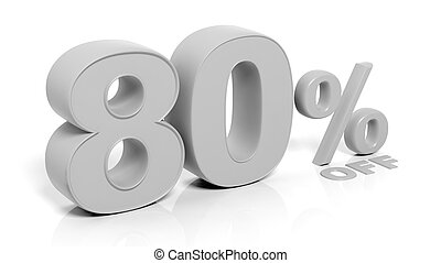 80 3D numbers,isolated on white background