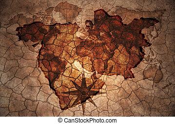 vintage mideast map - mideast map on vintage crack paper...