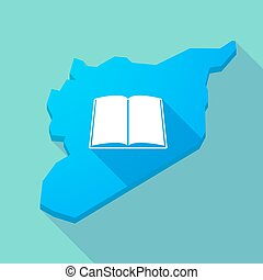 Long shadow Syria map with a book - Illustration of a long...