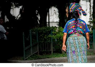 Indigenous woman in Guatemala - An Indigene Woman walking...
