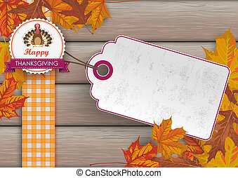 Foliage Thanksgiving Price Sticker Emblem Turkey Wood -...