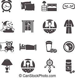 Sleep Time Icons Set - Sleep time black icons set with moon...