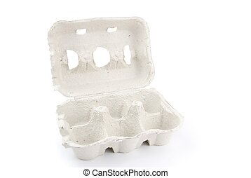 Empty 6 eggs box on white - empty box of 6 eggs isolated on...