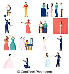 Theater actors flat icons set - Theater acting flat icons...
