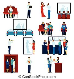 Cinema movie theater flat icons set - Cinema house film show...