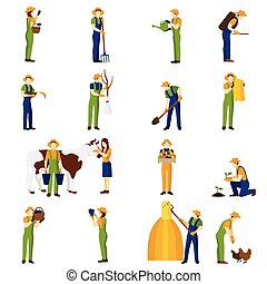 Farmer at work flat icons set - Farmer at work flat icons...