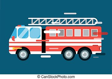 Fire truck car isolated vector cartoon silhouette - Fire...