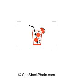 juice with ice cube color vector illustration